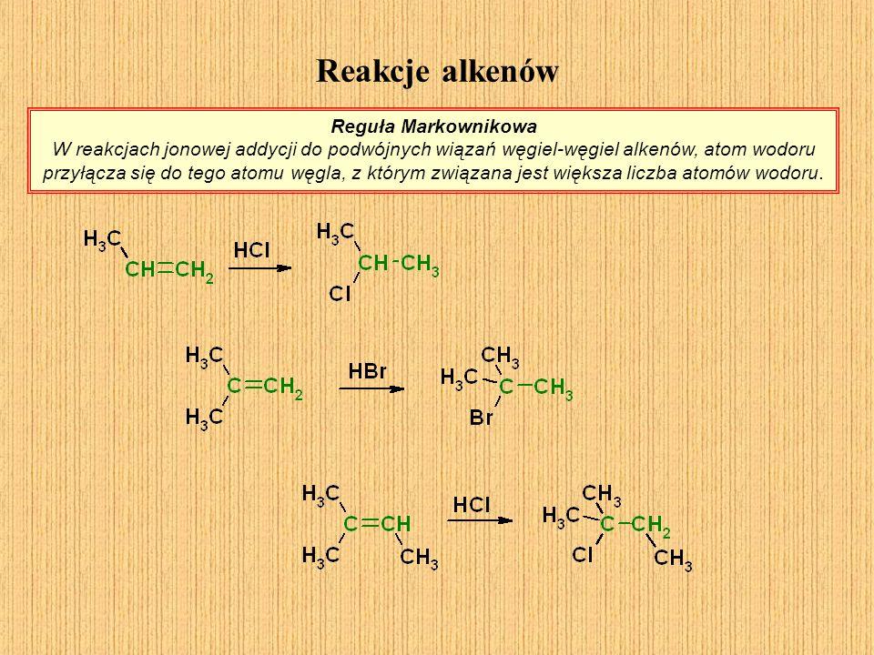 Reakcje alkenów Reguła Markownikowa