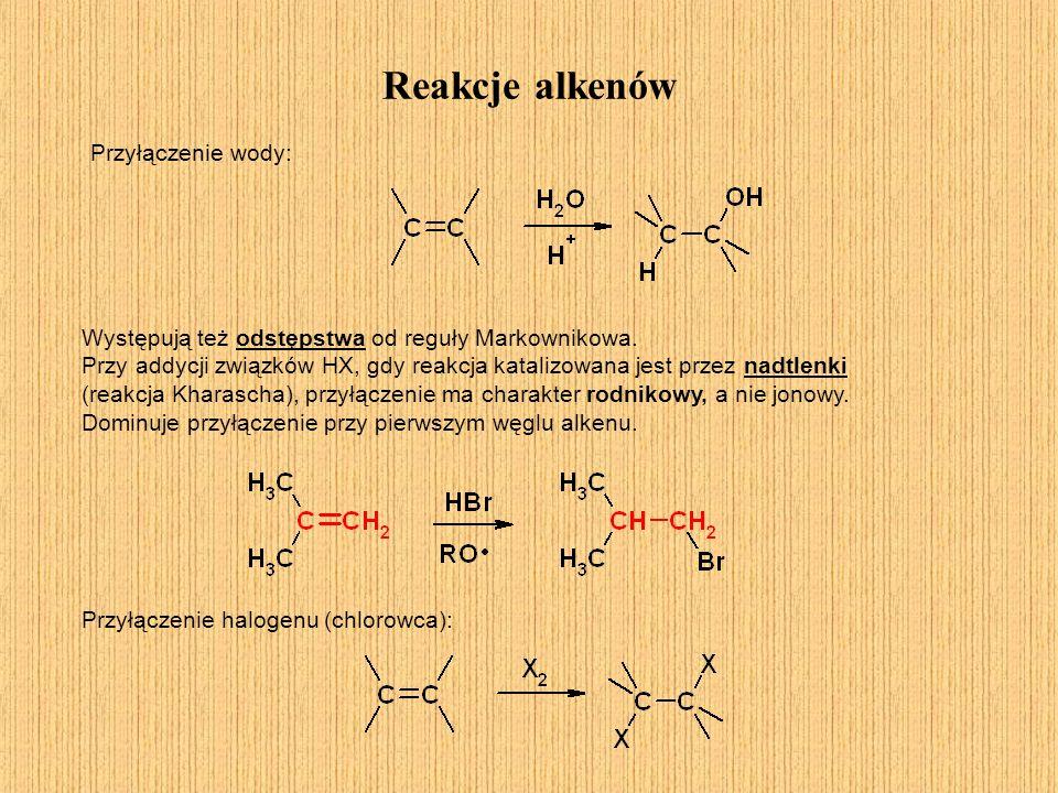 Reakcje alkenów Przyłączenie wody: