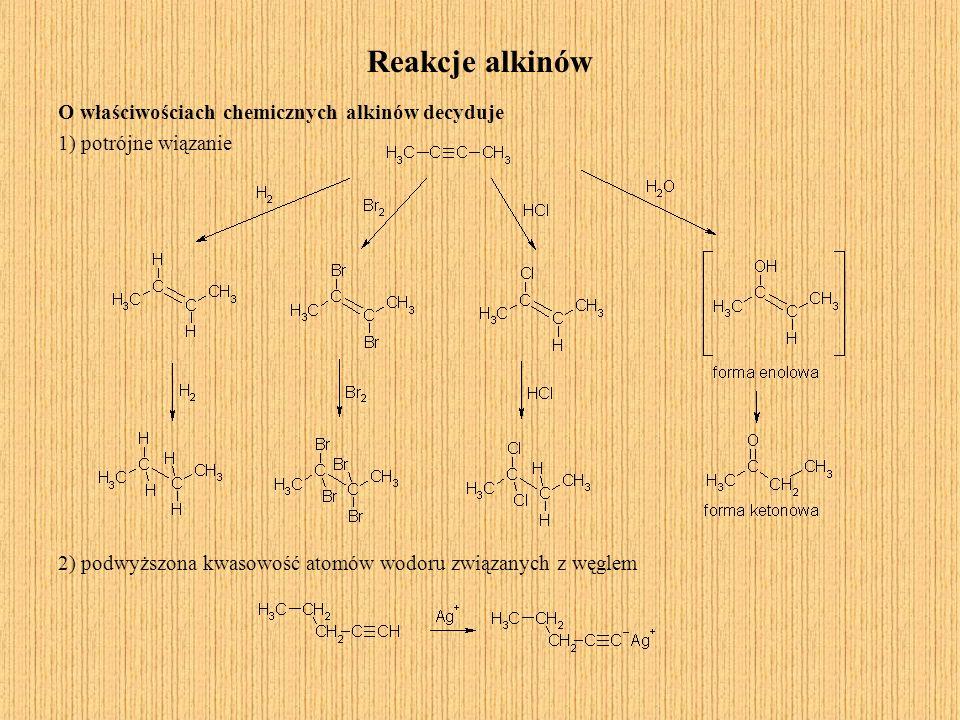 Reakcje alkinów O właściwościach chemicznych alkinów decyduje