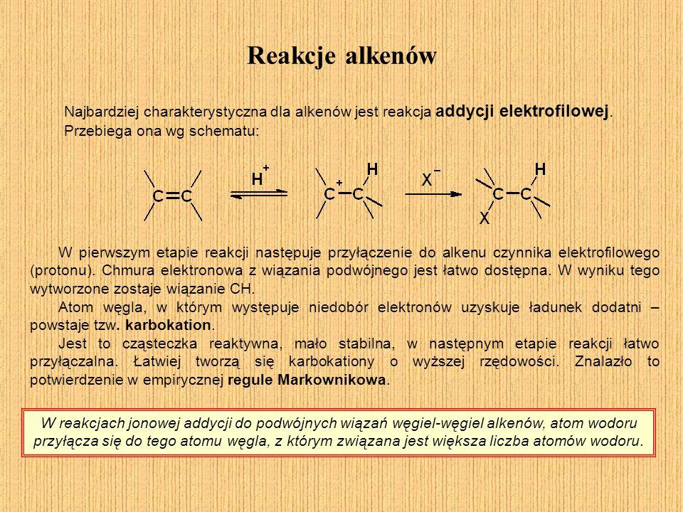 Reakcje alkenów Najbardziej charakterystyczna dla alkenów jest reakcja addycji elektrofilowej. Przebiega ona wg schematu: