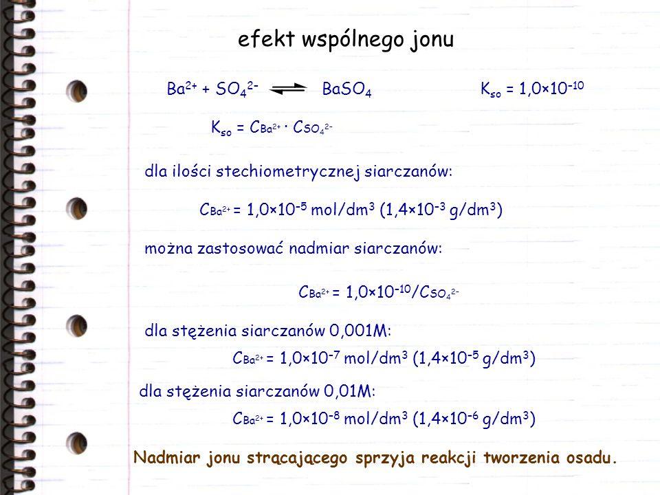 efekt wspólnego jonu Ba2+ + SO42– BaSO4 Kso = 1,0×10–10