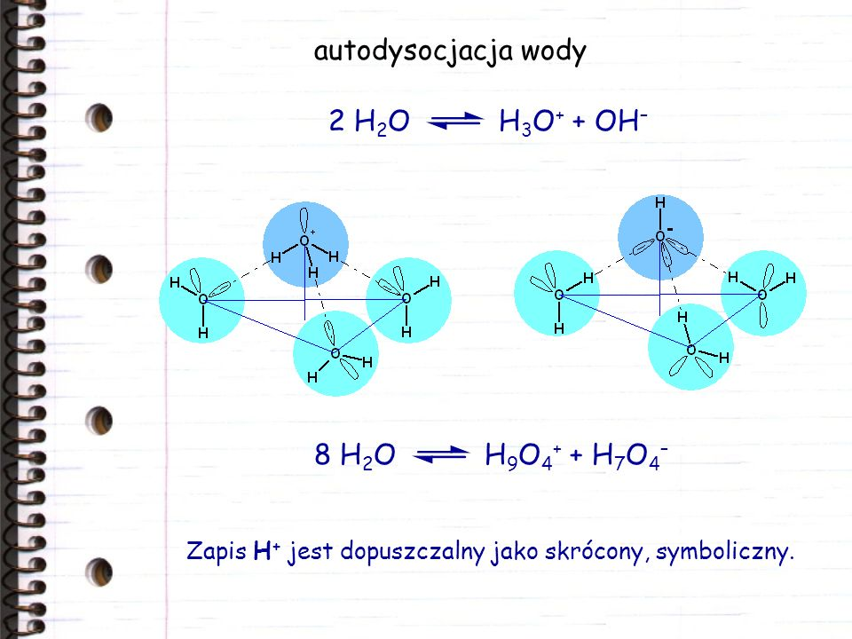 autodysocjacja wody 2 H2O H3O+ + OH– 8 H2O H9O4+ + H7O4–