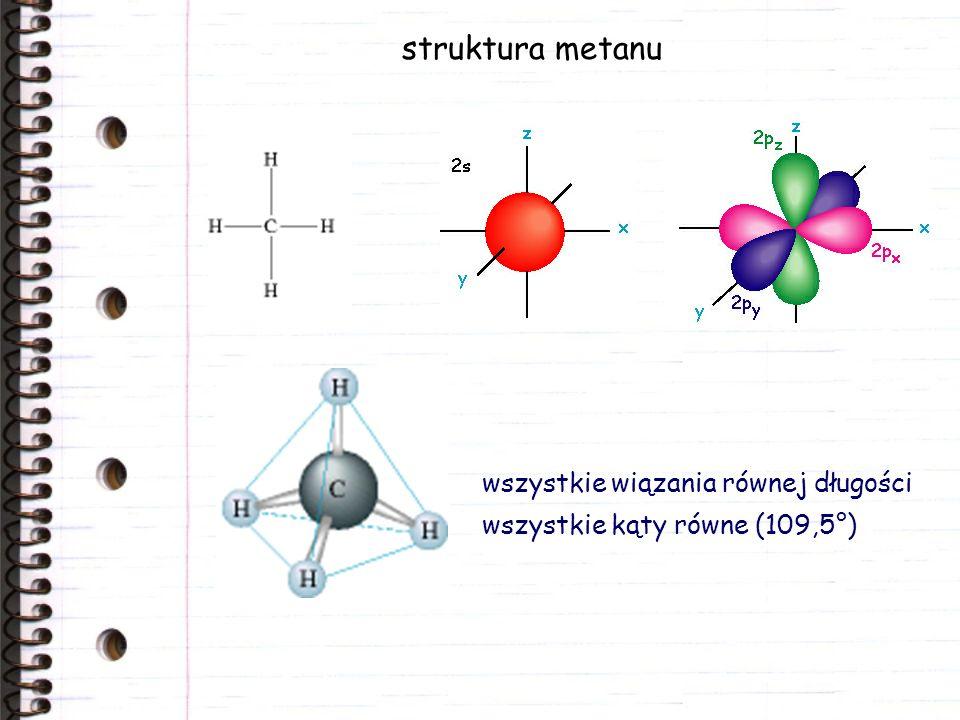 struktura metanu wszystkie wiązania równej długości