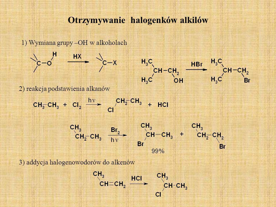 Otrzymywanie halogenków alkilów