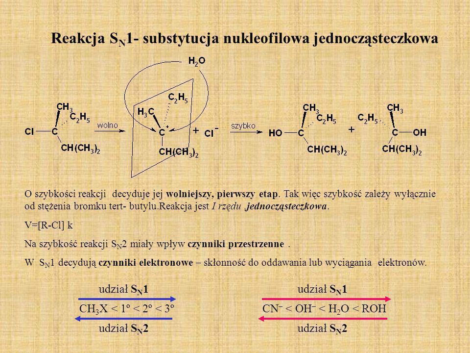 Reakcja SN1- substytucja nukleofilowa jednocząsteczkowa