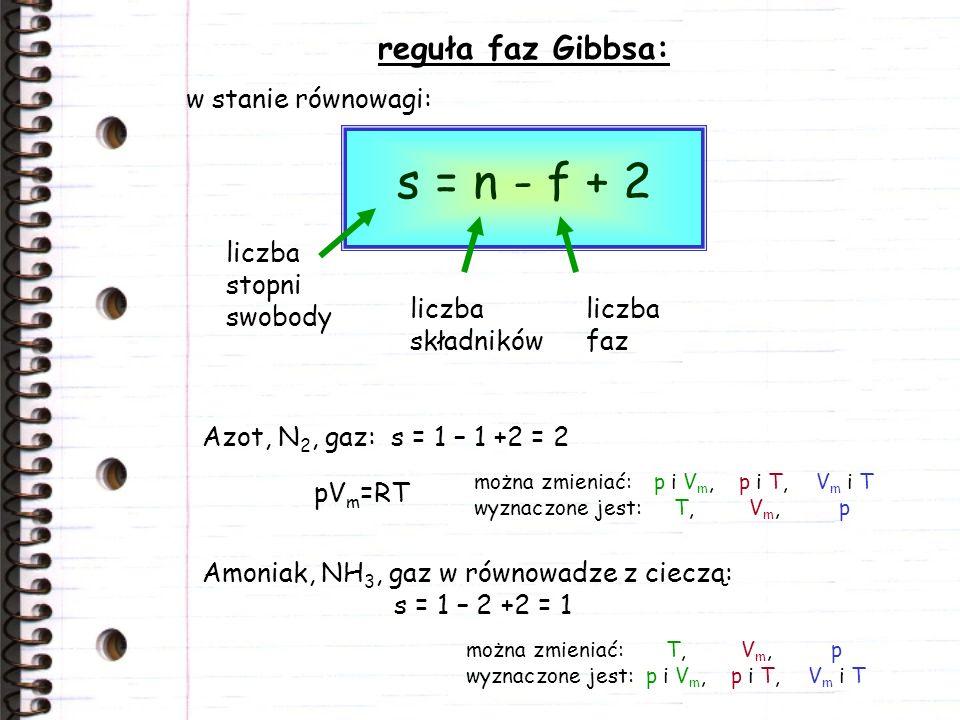 s = n - f + 2 reguła faz Gibbsa: w stanie równowagi:
