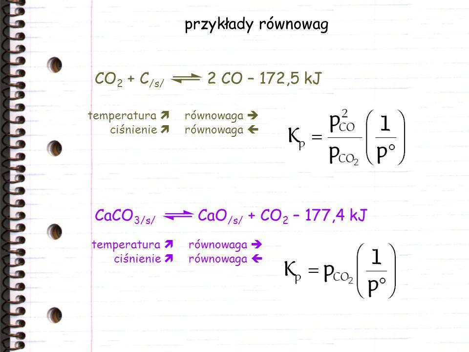 przykłady równowag CO2 + C/s/ 2 CO – 172,5 kJ
