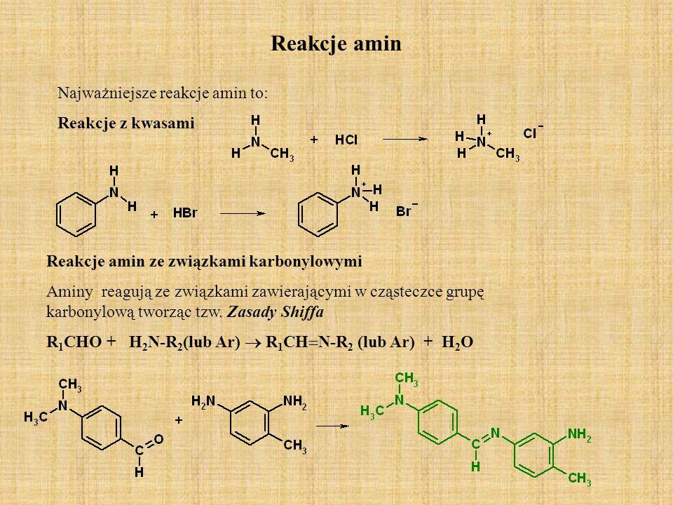 Reakcje amin Najważniejsze reakcje amin to: Reakcje z kwasami