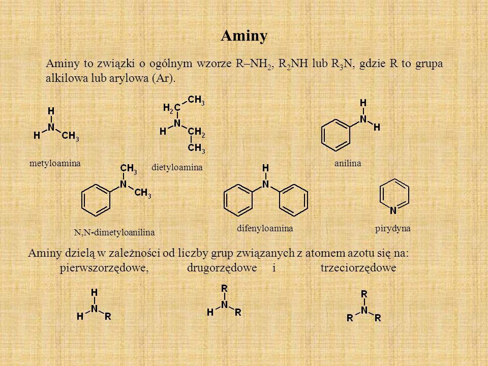 Aminy Aminy to związki o ogólnym wzorze R–NH2, R2NH lub R3N, gdzie R to grupa alkilowa lub arylowa (Ar).