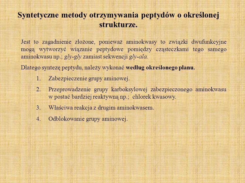 Syntetyczne metody otrzymywania peptydów o określonej strukturze.