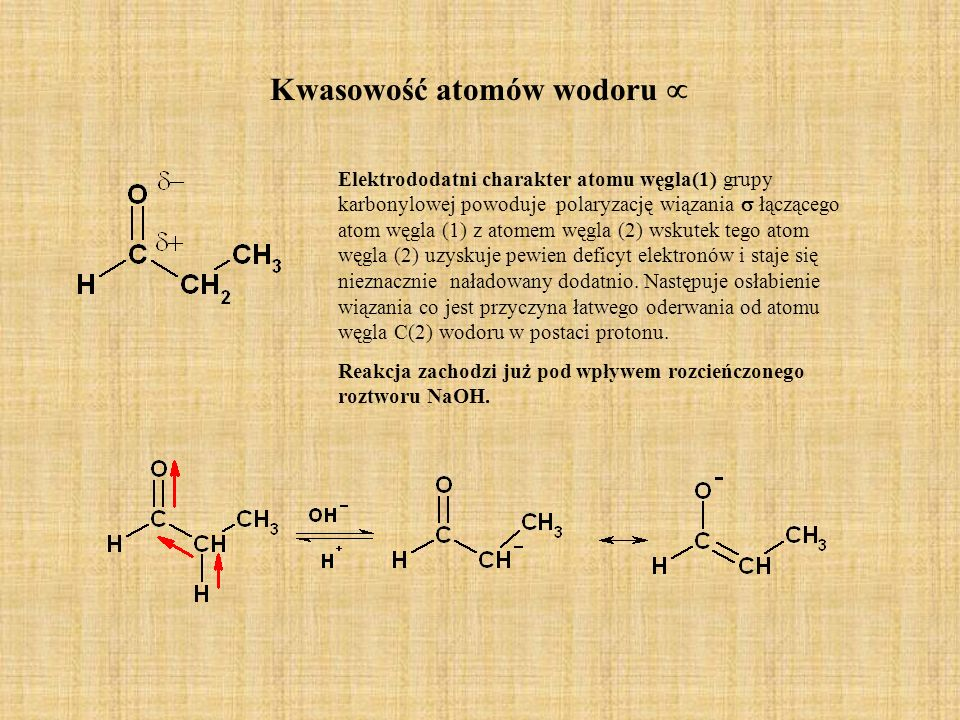 Kwasowość atomów wodoru 