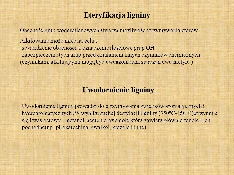 Eteryfikacja ligniny Uwodornienie ligniny