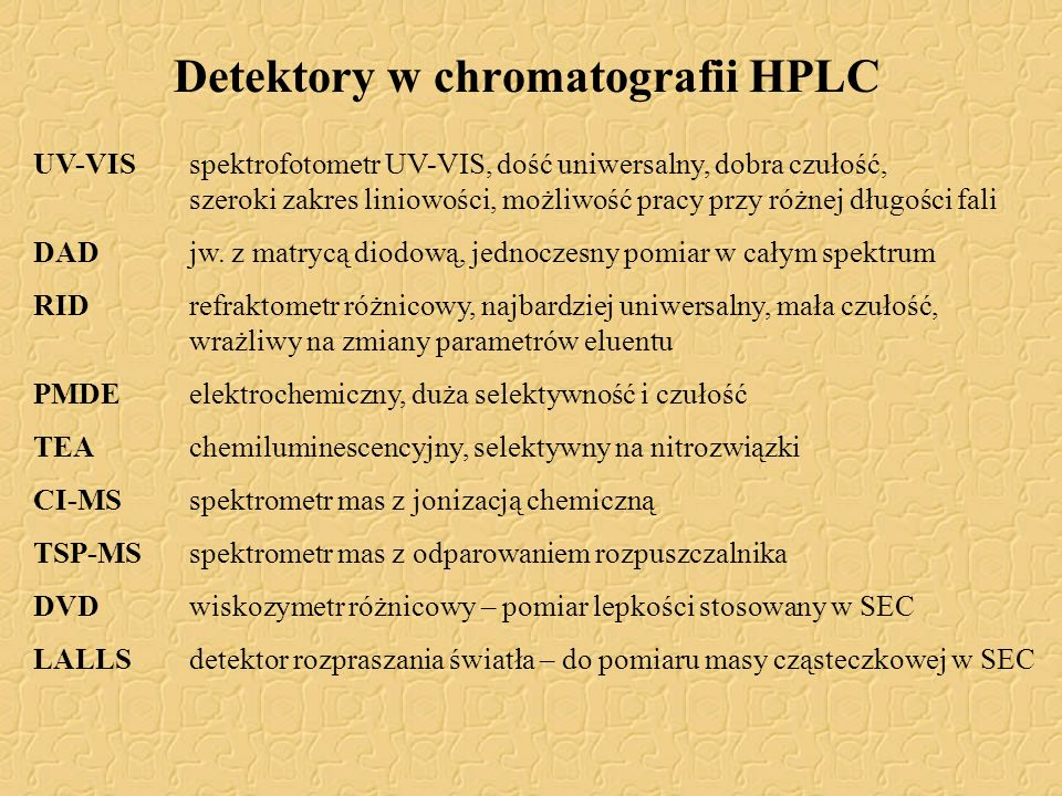 Detektory w chromatografii HPLC
