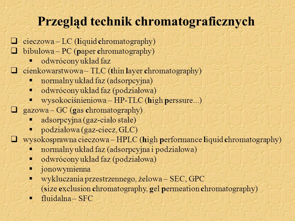 Przegląd technik chromatograficznych