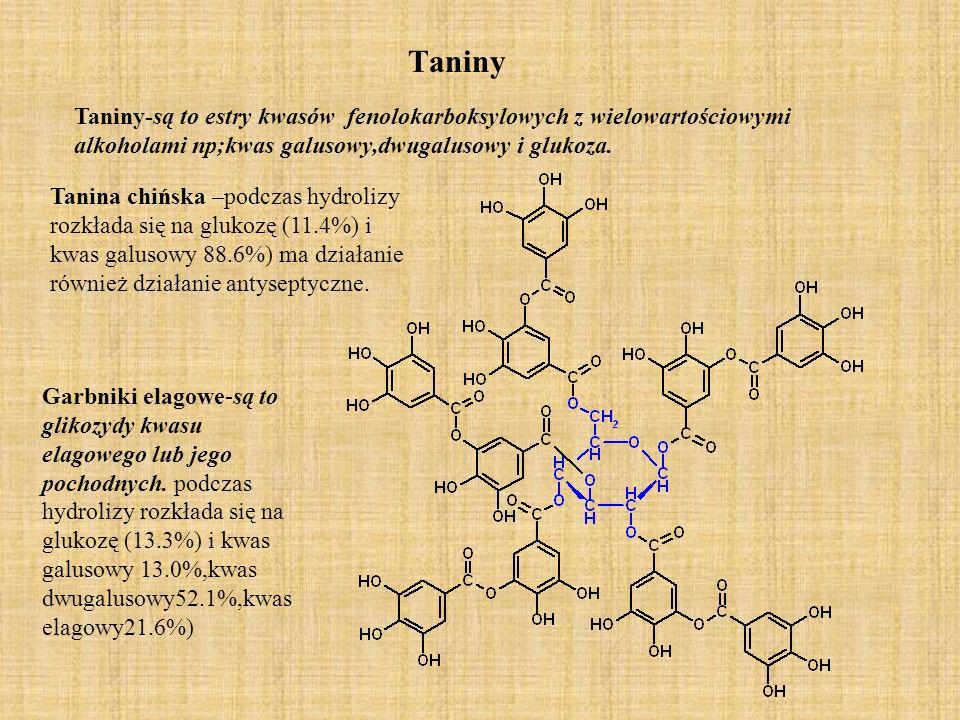 Taniny Taniny-są to estry kwasów fenolokarboksylowych z wielowartościowymi alkoholami np;kwas galusowy,dwugalusowy i glukoza.