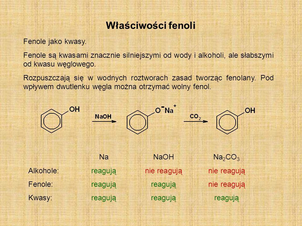 Właściwości fenoli Fenole jako kwasy.