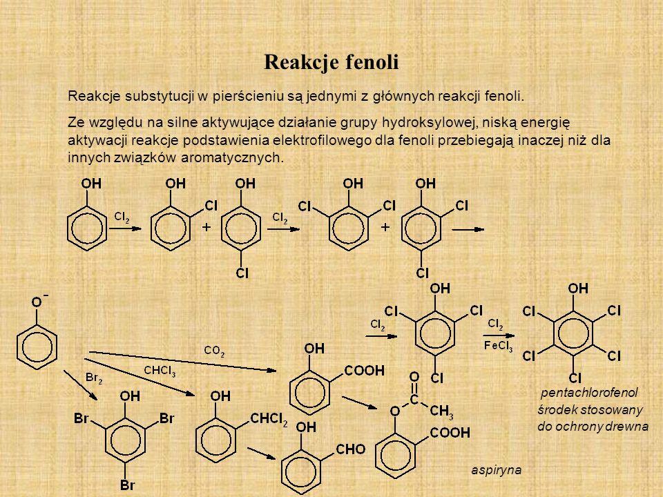 Reakcje fenoliReakcje substytucji w pierścieniu są jednymi z głównych reakcji fenoli.