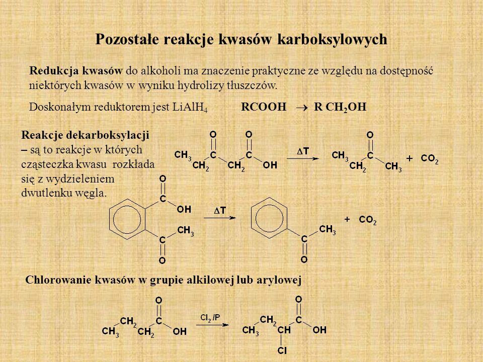 Pozostałe reakcje kwasów karboksylowych