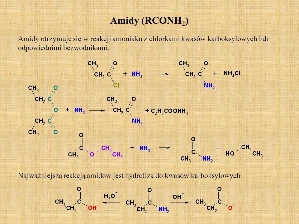 Amidy (RCONH2) Amidy otrzymuje się w reakcji amoniaku z chlorkami kwasów karboksylowych lub odpowiednimi bezwodnikami.