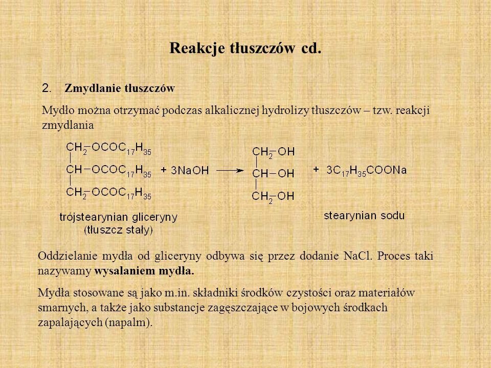 Reakcje tłuszczów cd. 2. Zmydlanie tłuszczów