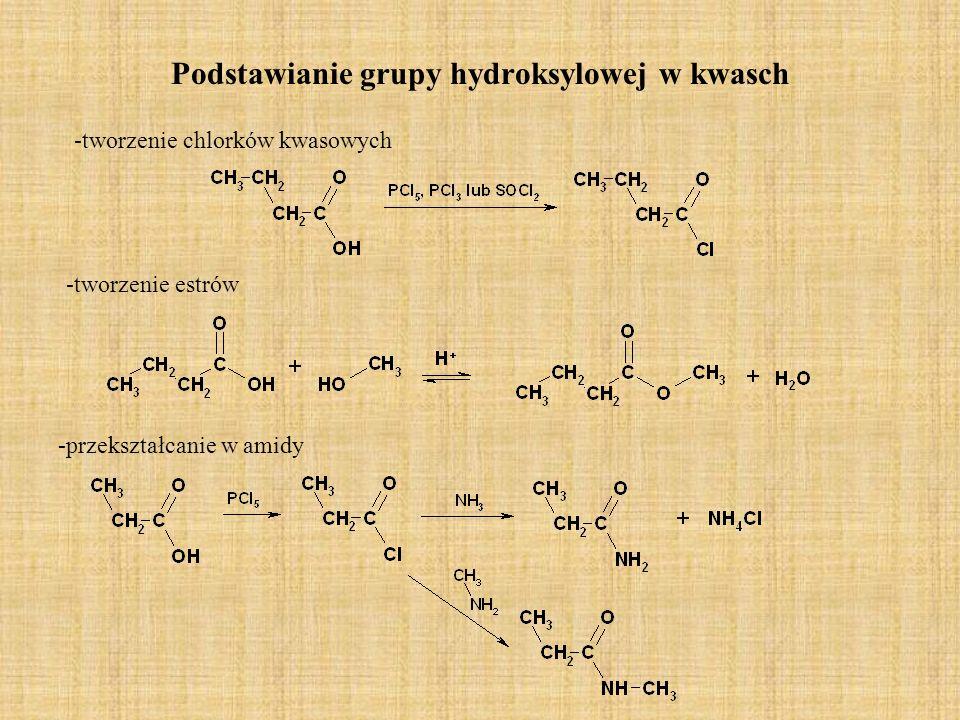 Podstawianie grupy hydroksylowej w kwasch