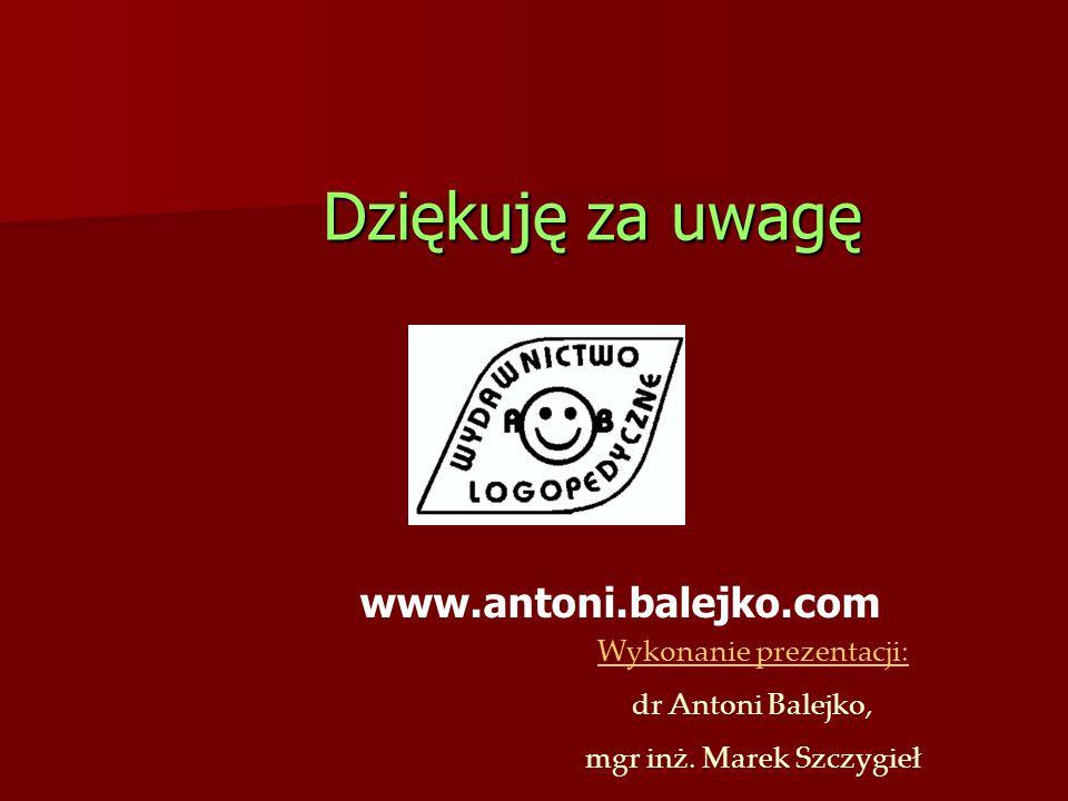 Dziękuję za uwagę www.antoni.balejko.com Wykonanie prezentacji: