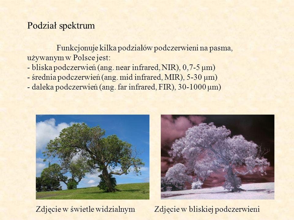 Podział spektrum Funkcjonuje kilka podziałów podczerwieni na pasma, używanym w Polsce jest: