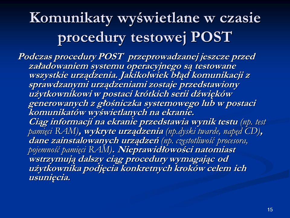 Komunikaty wyświetlane w czasie procedury testowej POST