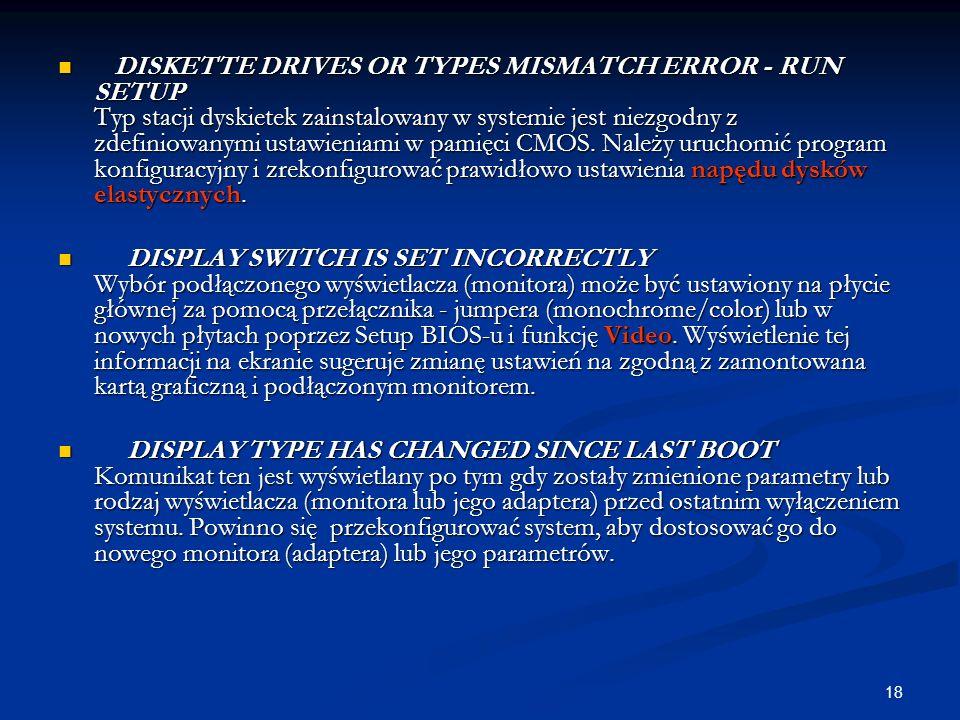 DISKETTE DRIVES OR TYPES MISMATCH ERROR - RUN SETUP Typ stacji dyskietek zainstalowany w systemie jest niezgodny z zdefiniowanymi ustawieniami w pamięci CMOS. Należy uruchomić program konfiguracyjny i zrekonfigurować prawidłowo ustawienia napędu dysków elastycznych.
