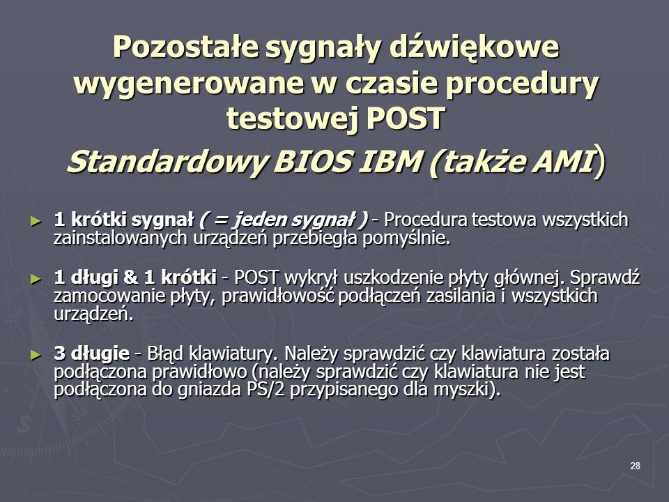 Pozostałe sygnały dźwiękowe wygenerowane w czasie procedury testowej POST Standardowy BIOS IBM (także AMI)