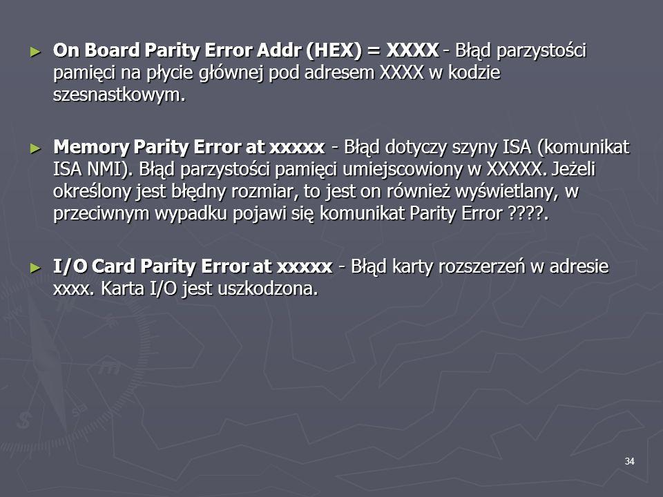 On Board Parity Error Addr (HEX) = XXXX - Błąd parzystości pamięci na płycie głównej pod adresem XXXX w kodzie szesnastkowym.