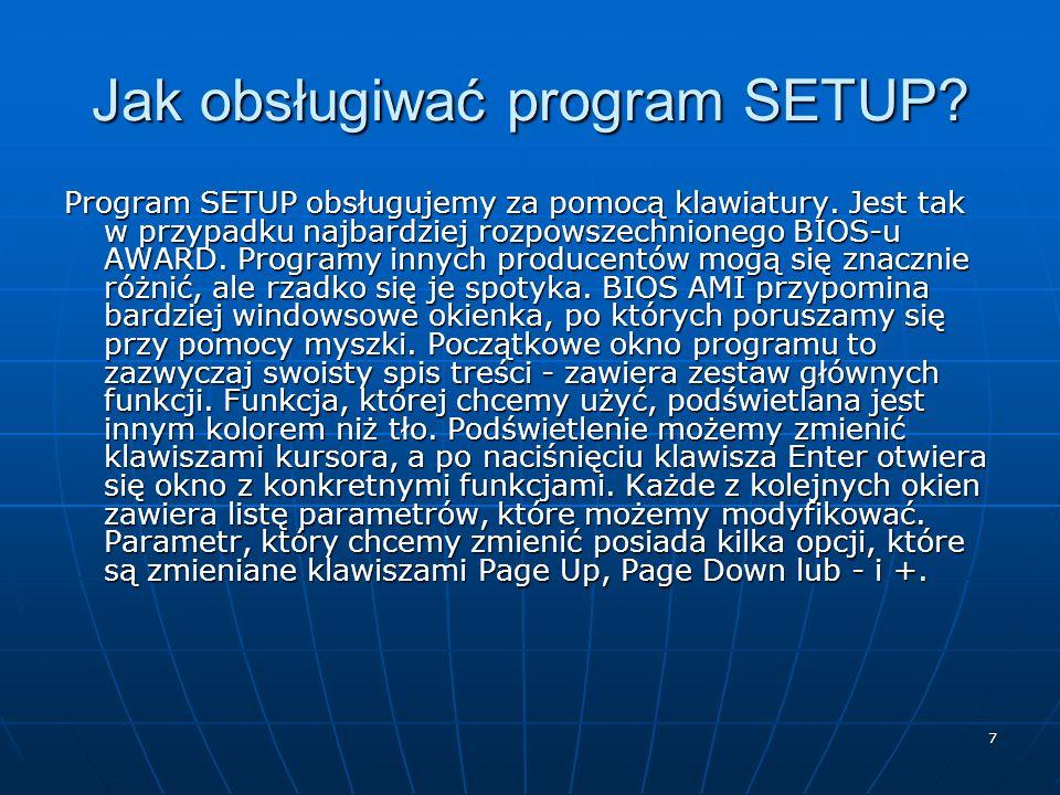 Jak obsługiwać program SETUP