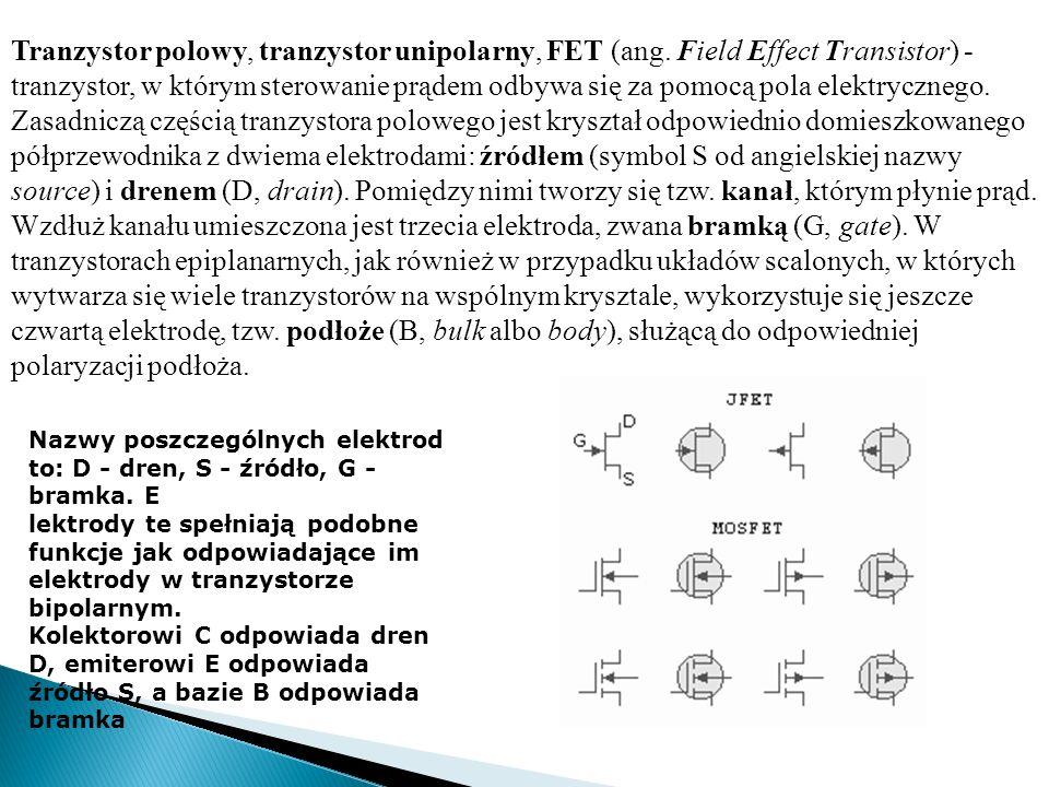 Tranzystor polowy, tranzystor unipolarny, FET (ang