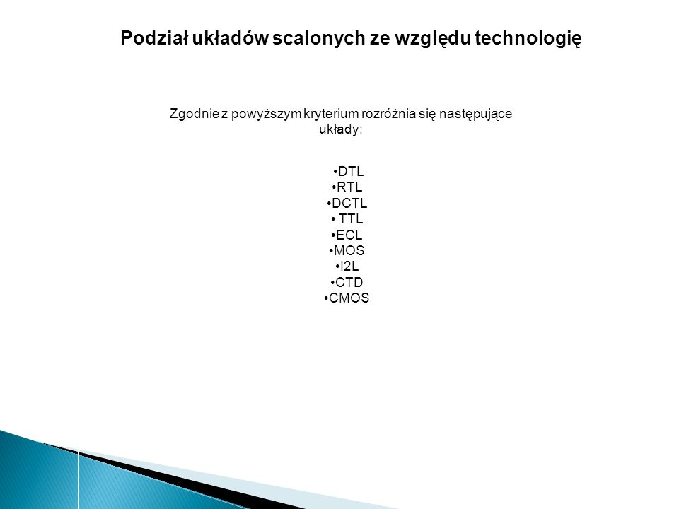 Podział układów scalonych ze względu technologię