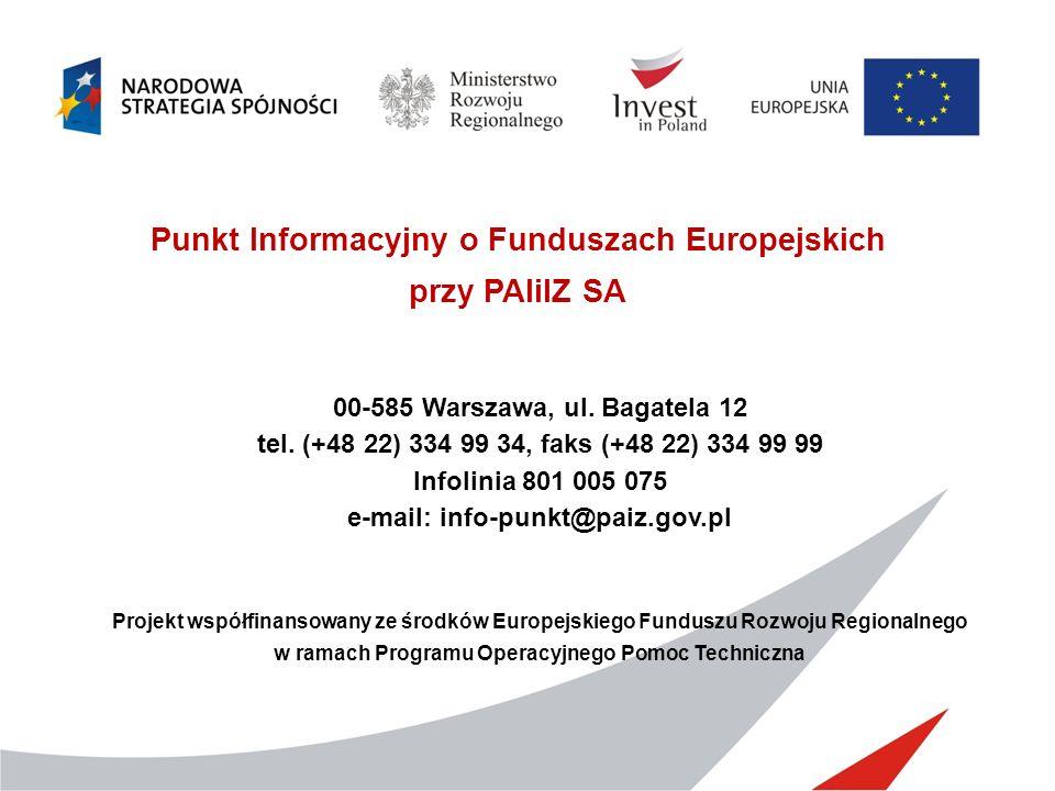 Punkt Informacyjny o Funduszach Europejskich przy PAIiIZ SA