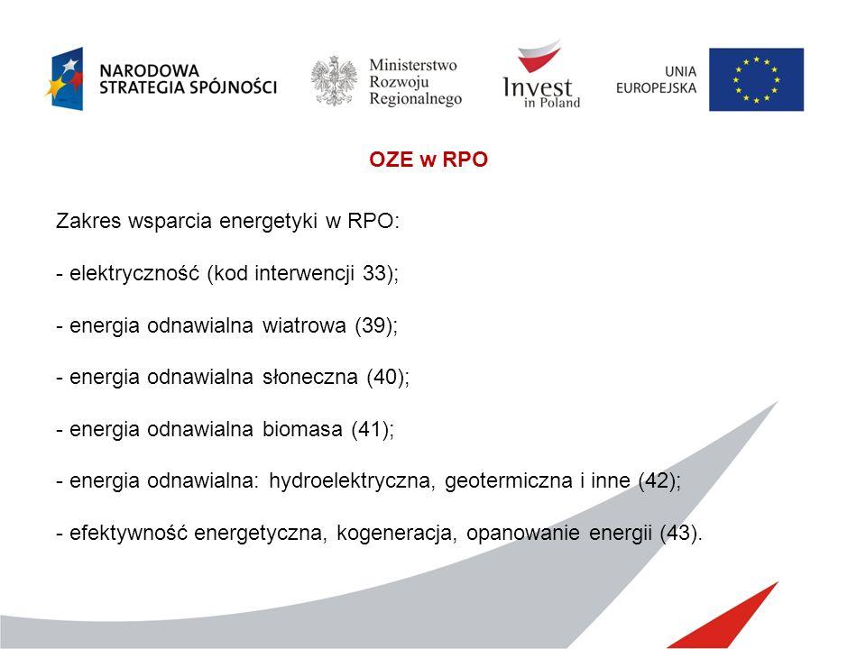 OZE w RPO Zakres wsparcia energetyki w RPO: elektryczność (kod interwencji 33); energia odnawialna wiatrowa (39);