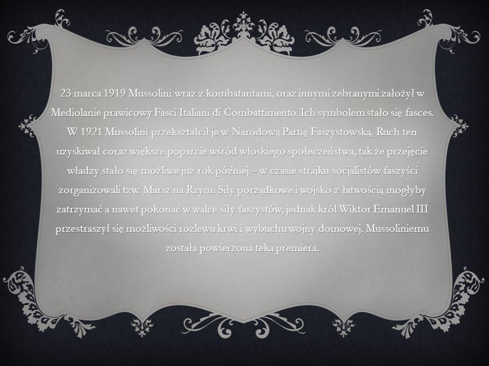 23 marca 1919 Mussolini wraz z kombatantami, oraz innymi zebranymi założył w Mediolanie prawicowy Fasci Italiani di Combattimento.