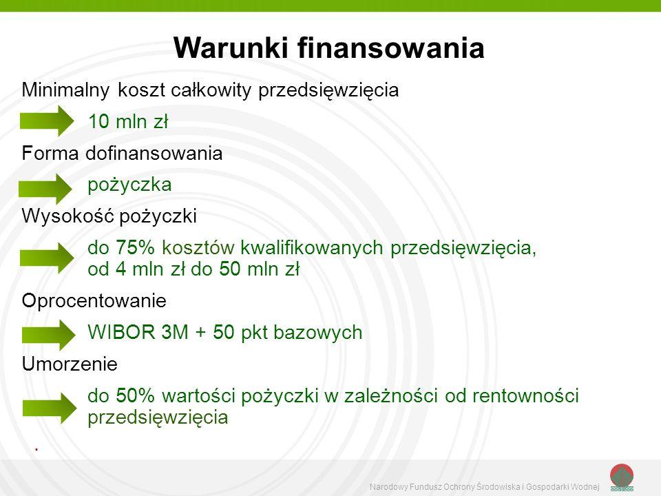 Warunki finansowania Minimalny koszt całkowity przedsięwzięcia