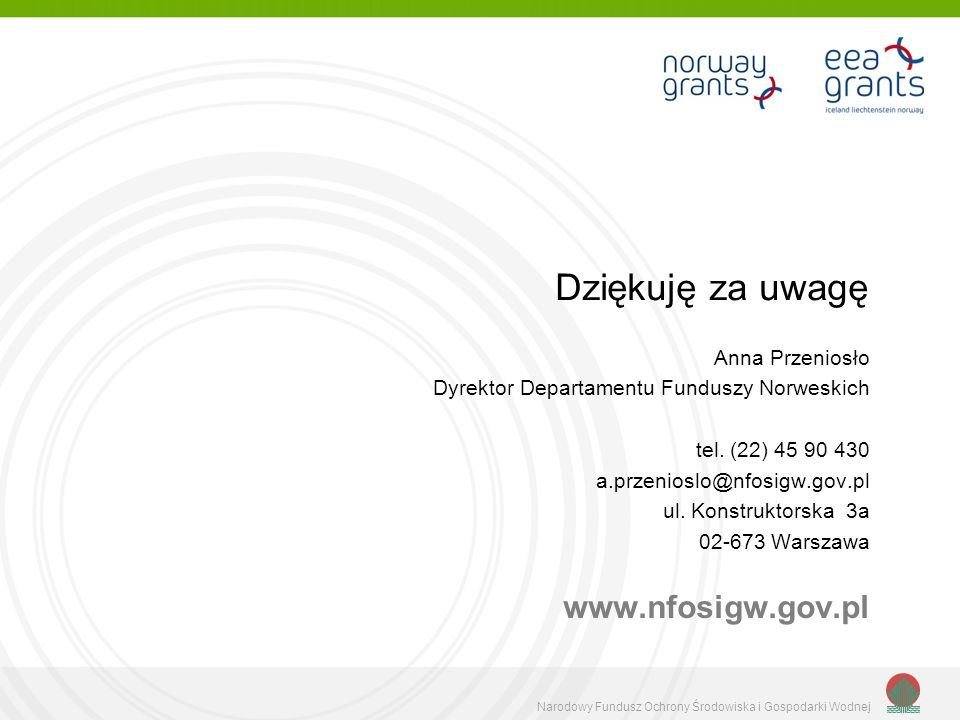 Dziękuję za uwagę www.nfosigw.gov.pl Anna Przeniosło