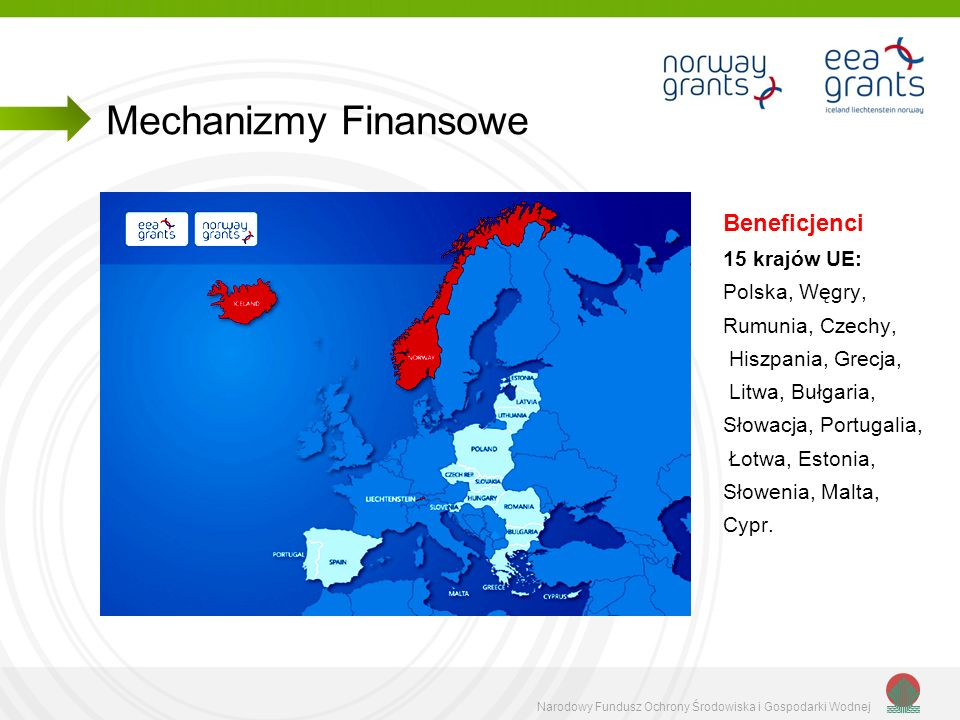 Mechanizmy Finansowe Beneficjenci 15 krajów UE: Polska, Węgry,