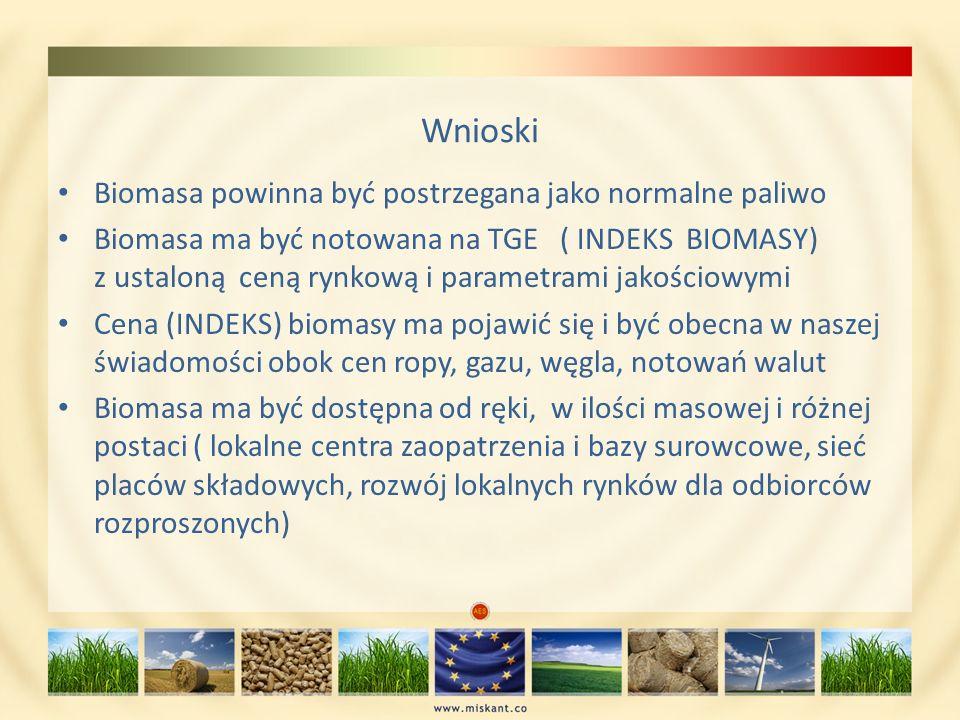 Wnioski Biomasa powinna być postrzegana jako normalne paliwo
