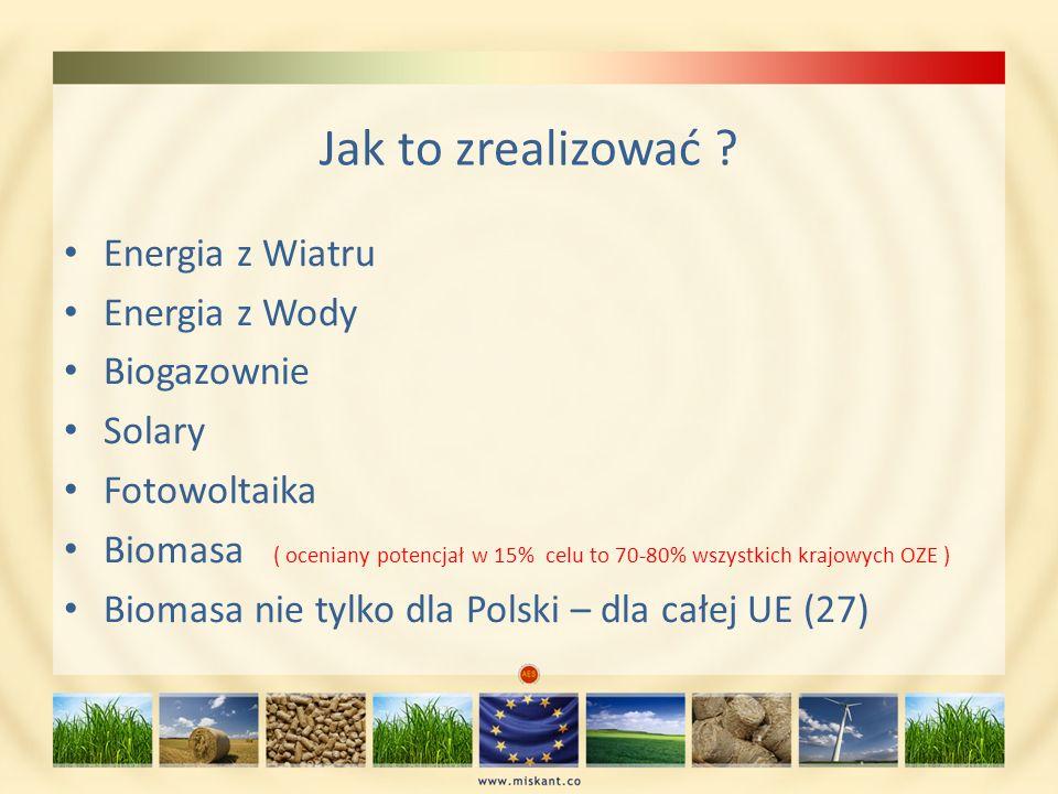 Jak to zrealizować Energia z Wiatru Energia z Wody Biogazownie