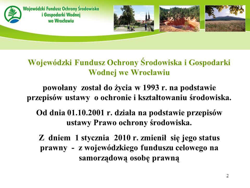 Wojewódzki Fundusz Ochrony Środowiska i Gospodarki Wodnej we Wrocławiu powołany został do życia w 1993 r.