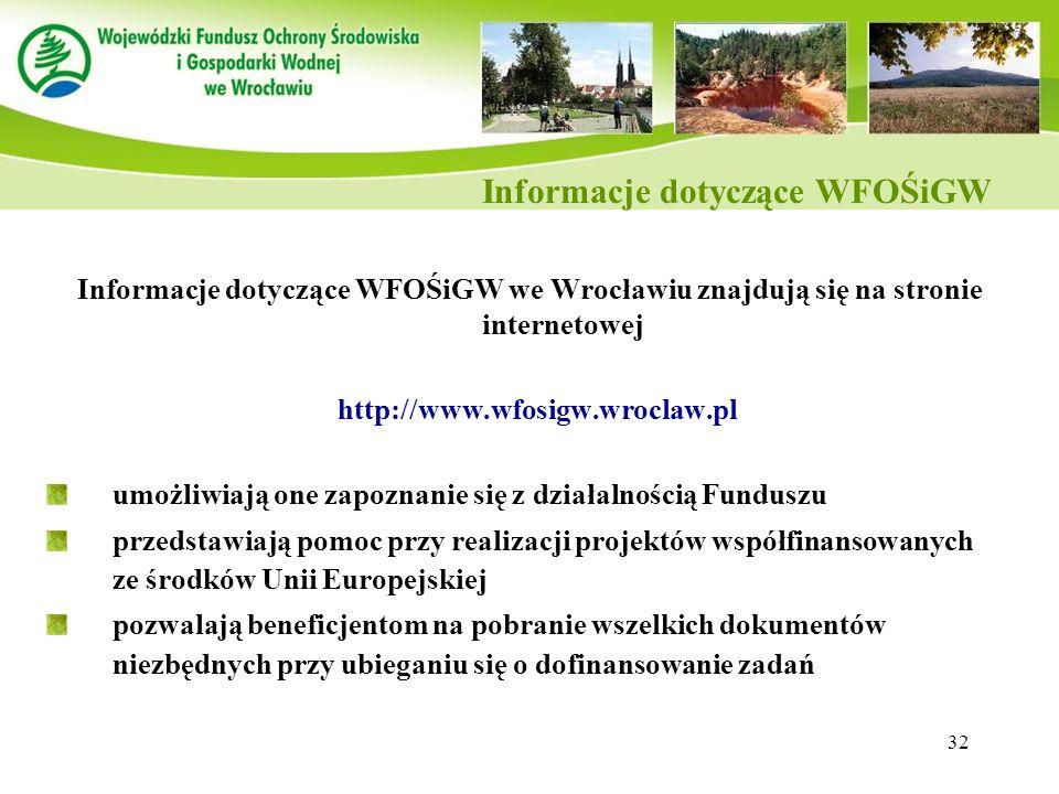 Informacje dotyczące WFOŚiGW