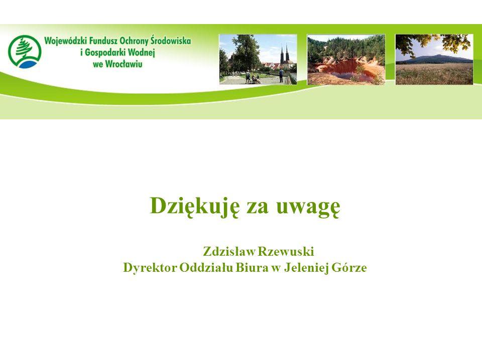 Dziękuję za uwagę Zdzisław Rzewuski Dyrektor Oddziału Biura w Jeleniej Górze