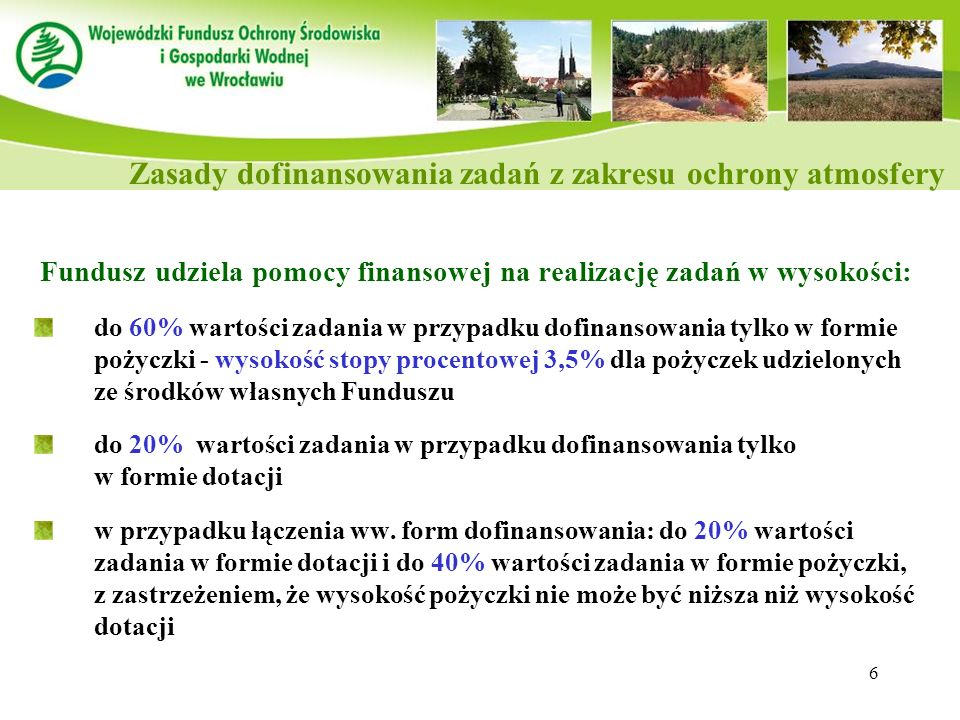 Zasady dofinansowania zadań z zakresu ochrony atmosfery