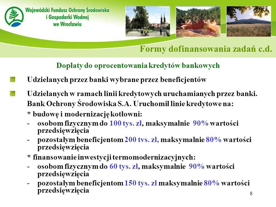 Formy dofinansowania zadań c.d.