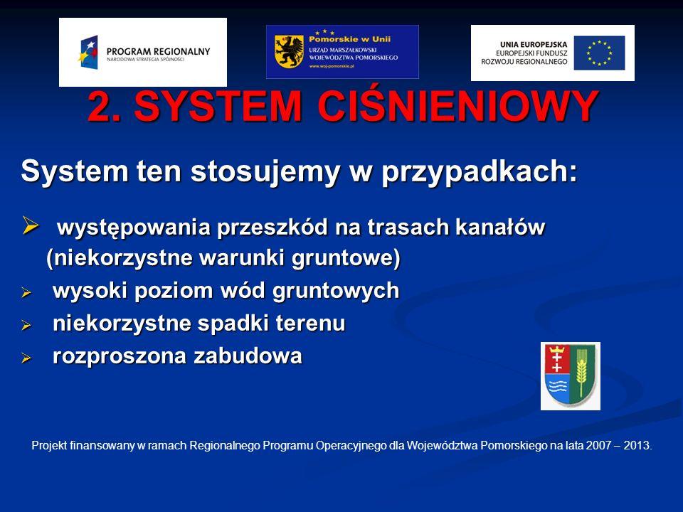2. SYSTEM CIŚNIENIOWY System ten stosujemy w przypadkach: występowania przeszkód na trasach kanałów (niekorzystne warunki gruntowe)