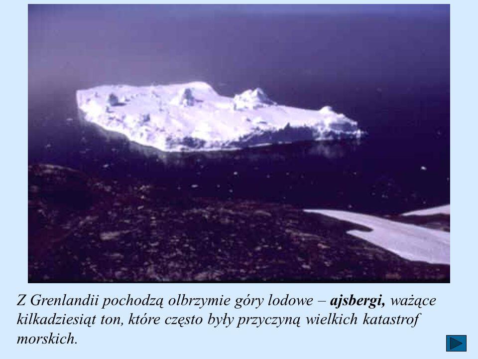 Z Grenlandii pochodzą olbrzymie góry lodowe – ajsbergi, ważące kilkadziesiąt ton, które często były przyczyną wielkich katastrof morskich.