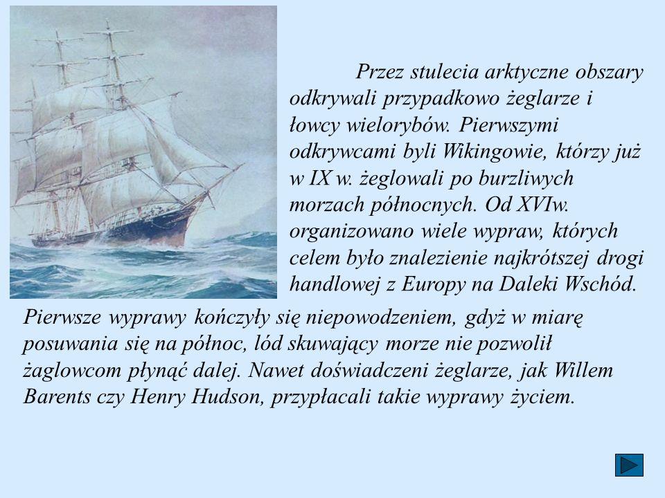 Przez stulecia arktyczne obszary odkrywali przypadkowo żeglarze i łowcy wielorybów. Pierwszymi odkrywcami byli Wikingowie, którzy już w IX w. żeglowali po burzliwych morzach północnych. Od XVIw. organizowano wiele wypraw, których celem było znalezienie najkrótszej drogi handlowej z Europy na Daleki Wschód.